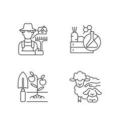 Work on farm linear icons set vector