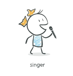Cartoon girl singing into a microphone vector image vector image