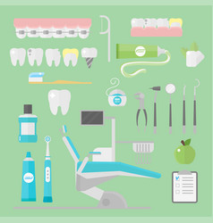 flat health care dentist symbols research medical vector image vector image
