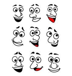Funny cartoon faces set vector image vector image