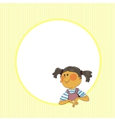 girl in a round window vector image vector image
