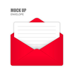 red open envelope with empty card vector image vector image