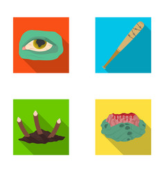 zombie dead infected and other web icon in flat vector image
