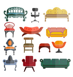 Furniture seats or chairs isolated flat vector