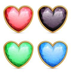 Heart shaped gems vector image
