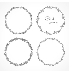 Set of round floral decorative frames vector image vector image