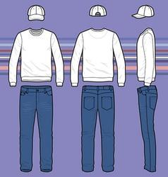 Sweatshirt cap and jeans set vector image