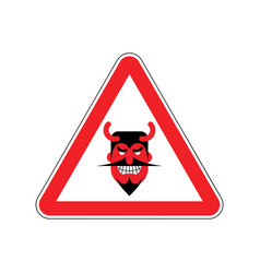 attention devil dangers of red road sign satan vector image vector image