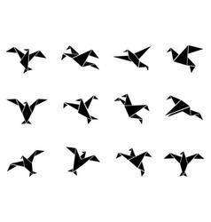 black paper birds icons set vector image vector image