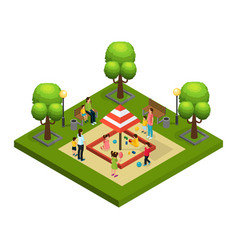isometric nannies and children concept vector image vector image