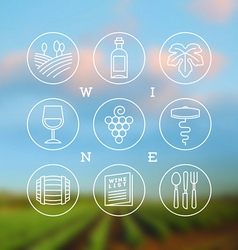 Line drawing set of wine and winemaking icons vector image vector image