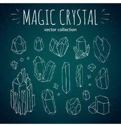 Magic crystal hipster style hand drawn set vector image vector image