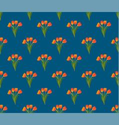 orange tulip on indigo blue background vector image vector image