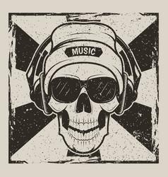 skull music vintage grunge design vector image