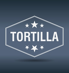 Tortilla hexagonal white vintage retro style label vector