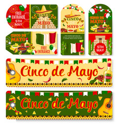 Cinco de mayo mexican holiday tags vector