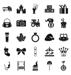 kids time icons set simple style vector image