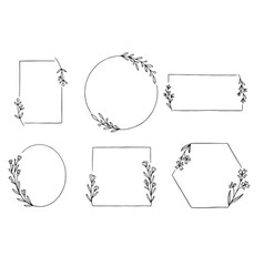 0008 hand drawn floral frame vector