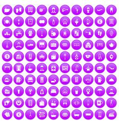 100 inn icons set purple vector
