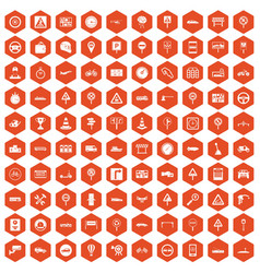 100 traffic icons hexagon orange vector