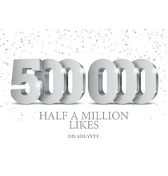 anniversary or event 500000 silver 3d numbers vector image
