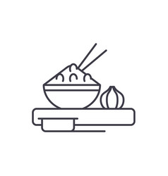 asian food line icon concept asian food vector image