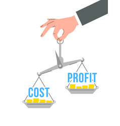 Balance scales with words cost and profit vector