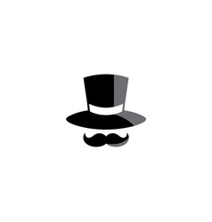 black hat and big mustache for logo design vector image