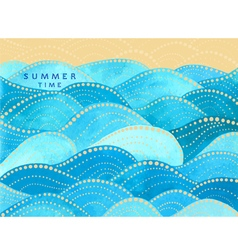 blue writing summer time with watercolor waves vector image