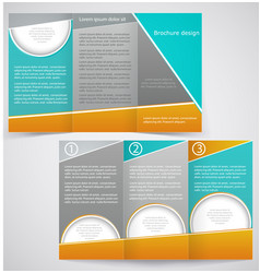 brochure layout design with green and yellow vector image