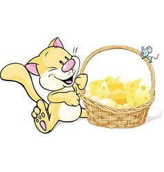 Cat and mouse with basket full of cheese vector