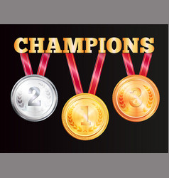 champions medals isolated on black background vector image