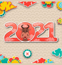 chinese new year 2021 with ox eastern traditional vector image