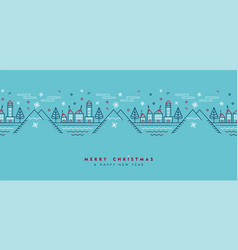 christmas and new year city outline greeting card vector image
