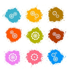 Cogs - Gears Colorful Splashes Icons Set Isolated vector image