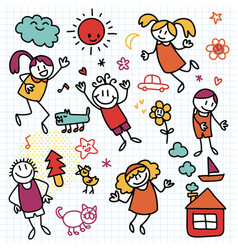 Collection cute children drawings kids vector