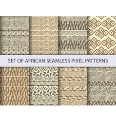 Collection of pixel seamless patterns vector