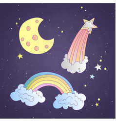 cute cartoon sky and space icon vector image