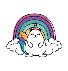 Cute fantasy hamster with rainbow vector
