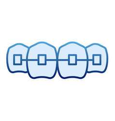 dental braces flat icon dentistry blue icons in vector image