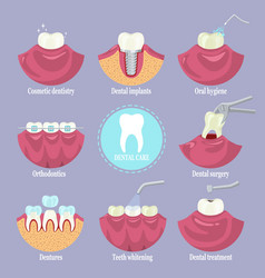 Dental care set flat isolated vector