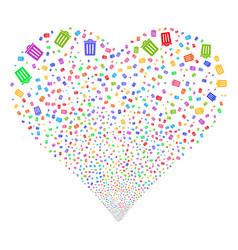 dustbin fireworks heart vector image