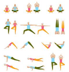 Elderly people practice yoga set of asanas relax vector