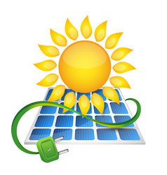 Electricity from solar panels vector
