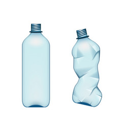 Empty used normal and crumpled plastic bottle vector