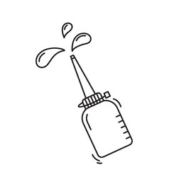Falling oiler with splash drops bottle vector