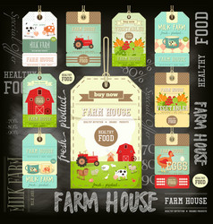 Farm price tag label collection vector