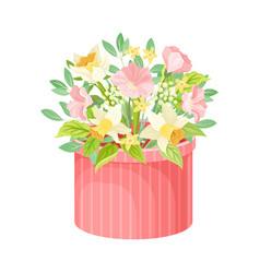 Floral arrangement in box isolated on white vector