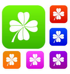 four leaf clover set collection vector image