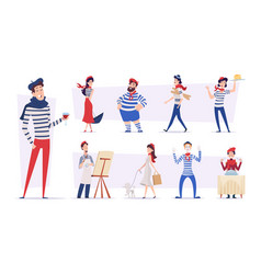 french people funny smile characters in various vector image